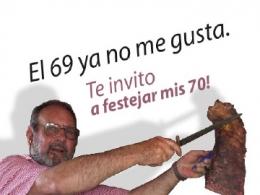 Tarjeta invitación 70 años de mi padre